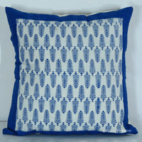 "16x16"" Inch Indian Hand Block Leaf Print Toss Pillow Cover"