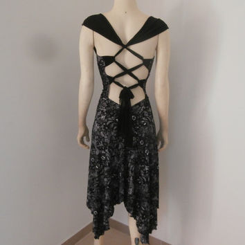 Milonga Tango Dress / Salsa Dress with amazing Overcross Back and high Slit fits US 2 to 6  Dance  - amazing Lace  Print