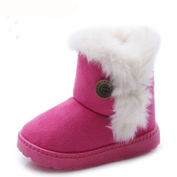 Thick Warm Cotton-Padded Suede Boys & Girls Snow Boots