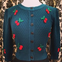 Pin Up Sweater in Peacock Blue with Cherry Embroidery