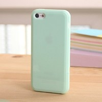 iPhone 5C Jelly Case, ANLEY Candy Fusion Series - [1.5mm Slim Fit] [Shock Absorption] Classic Jelly Silicone Case Soft Cover for iPhone 5C (Mint Green) + Free Ultra Clear Screen Protector Film