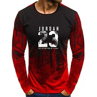 2018  Hot Sale New Tee Jordan 23 Print Men Swag T-Shirt Top Quality Camouflage Jordan 23 Hip Hop  Long sleeve Men t