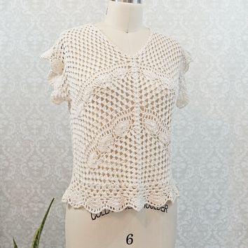 Vintage 1970s Crochet + Scallop Top