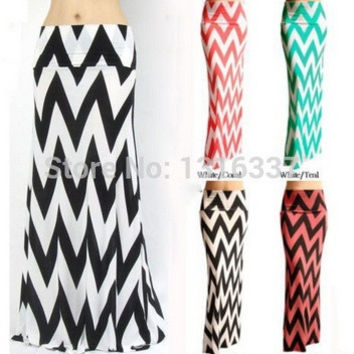 Hot New Fashion Women's Waist Banded Chevron Rayon Long Maxi Dress Skirts = 1946401540