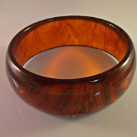 Tortoise Bakelite Bangle Bracelet, Wide Stacking