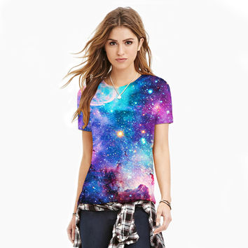 Light Blue Galaxy Space Shirt (All Over Print T-Shirt)