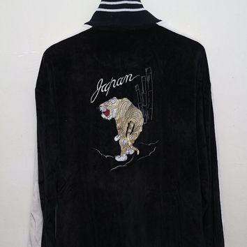 Vintage SUKAJAN Tiger Corduroy Japanese Jacket Black Color Size XXXL
