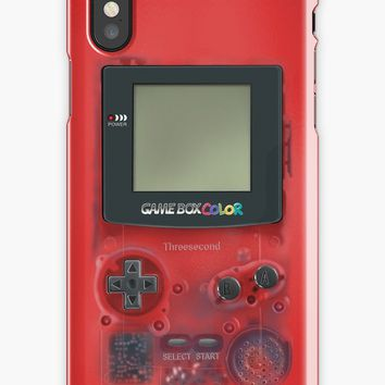 'Classic transparent dark RED mini video games' iPhone Case/Skin by Galih Sanjaya Kusuma wiwaha