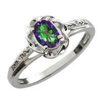 Genuine Mystic Topaz Oval Diamond Ring .925 Sterling Silver Rhodium Plated White Gold Quality