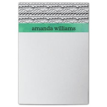 Black and White Zigzag Lines with Mint Watercolor Post-it® Notes