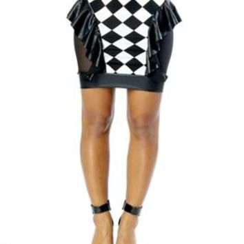 Adecco Black Checker Ruffle Skirt