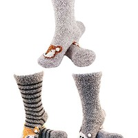 Socks - Super Soft Warm Cute Animal Non-Slip Fuzzy Crew Winter Socks