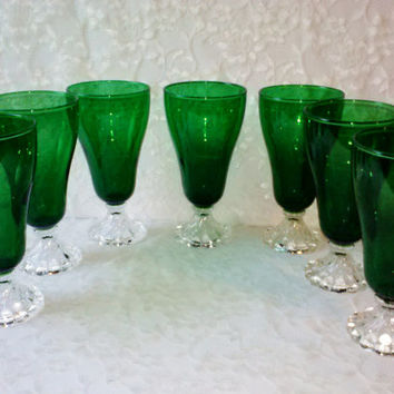 Vintage Anchor Hocking Forest Green Inspiration Tumblers Set of 7 Iced Tea Goblets Depression Glass MINT Estate Holdiay Serving Home Decor