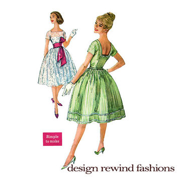 1950s COCKTAIL EVENING Day Fit & Flare Dress Square Neckline and Back Kimono Sleeves Simplicity 2958 UNCUT Vintage Sewing Patterns Bust 34