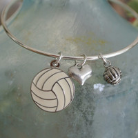 I love volleyball adjustable silver bangle bracelet.  Cute volleyballs and heart bracelet!