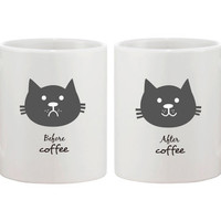 Cute Ceramic Kitty Cat Face Coffee Mug - Before Coffee and After Coffee Mug 11oz White
