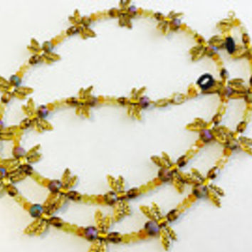 Gold Fire Fly Eyeglass Chain