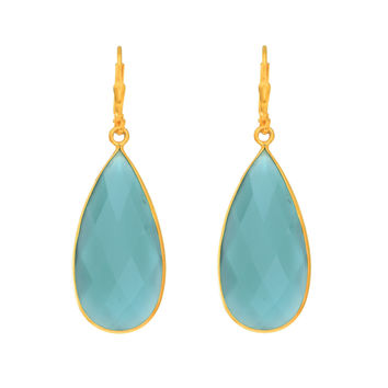 Long Teardrop Faceted Aqua Chalcedony Earrings Set In Yellow Gold Plated Sterling Silver