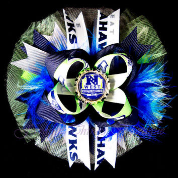 Seattle Seahawks NFC West Champions Deluxe Tulle Hair Bow with Marabou