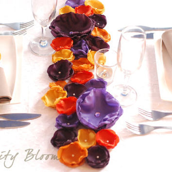 Fall Wedding Tablescape PURPLE and ORANGE Flower Wedding Decoration Long Centerpiece Fabric Floral Table Runner Wedding Reception Decoration