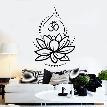 Vinyl Wall Decal Lotus Flower Yoga Hinduism Hindu Om Symbol Stickers Unique Gift (ig4625)
