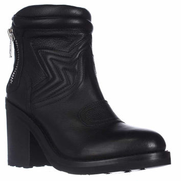 Ash Uno Ankle Boots, Black Leather, 9 US / 39 EU