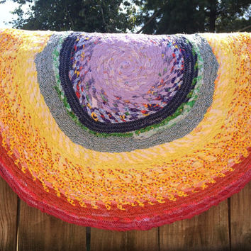 Rag Rug- Rainbow Cotton Scrap Fabric Twine