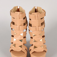 Demi-03 Studded Strappy Open Toe Platform Wedge