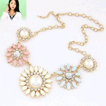 Crystal Flower Bib Statement Necklace Chunky Bubble Choker Collar Pendant Chain