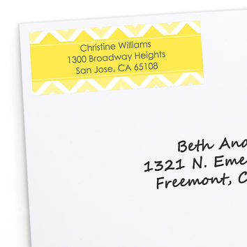 Chevron Yellow - Personalized Bridal Shower Return Address Labels - 30 ct