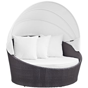 Convene Canopy Outdoor Patio Daybed Espresso White EEI-2175-EXP-WHI