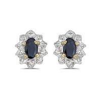 10K Yellow Gold Oval Sapphire and Diamond Earring (3/4ct TGW)s