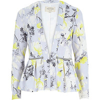 River Island Womens Grey print jersey peplum jacket