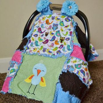 Clearance Sale 65% Off CARSEAT CANOPY, Nursing tent, Baby Rag Quilt, Blanket, 3 in 1, Pink, Blue, Cream, Canopy, Embroidered Bird, Ready to