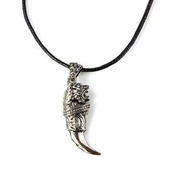 Men Wild Stainless Steel Titanium Wolf Tooth Necklace Pendants Jewelry