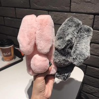 Lovely Bunny Rabbit Fur Plush Fuzzy Fluffy Soft Back Case for iPhone 7 6 6s Plus
