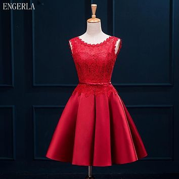 ENGERLA 395 Satin With Lace Short Bridesmaid Dress With Bow 2017 Scoop Neck Wedding Party Dress Lace Up Bridesmaid Dresses