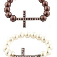 Combo Brown and Ivory Iced Out Sideways Cross Simulated Pearl Style Bracelets
