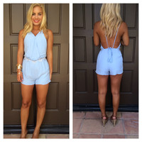Flower Child Open Back Romper - POWDER BLUE