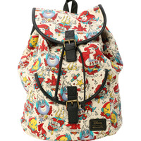 Disney The Little Mermaid Tattoo Print Slouch Backpack
