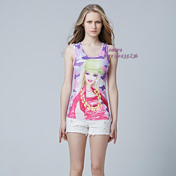 2016 Sexy fitness Barbie Printed Women's Tanks Tops Tank Top t shirt t-shirt Women Camisole Plus Size