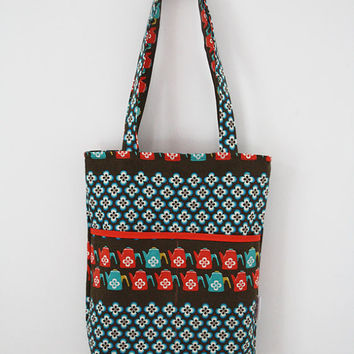 Retro tote bag with teapots and flowers: aqua, red, brown