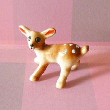 Deer figurine wild animal figurine ceramic -reindeer statues -Doll house Miniature ornaments collection