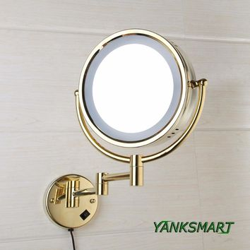 YANKSMART Led Makeup Mirror With Led Light Vanity Cosmetic Magnify Wall Mirror Bathroom 3x Magnification Shaving Makeup Mirrors