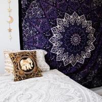 Royal Palace Blue Purple Mandala Star Bohemian Bed Wall Tapestry