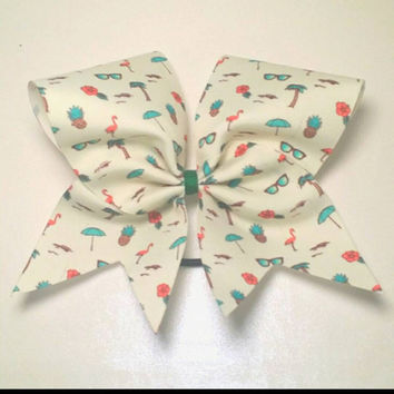 Bahama Mama Cheer Bow- 3 Inch Texas Size - Cheer Party - Theme Practice - Birthday Gift - Ponytail Accessory