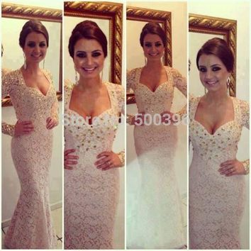 2017 Vestido de noche Winter Evening Dresses V neck Full Long Sleeve Floor Length Rhinestone Beads Lace Mermaid Prom Gown