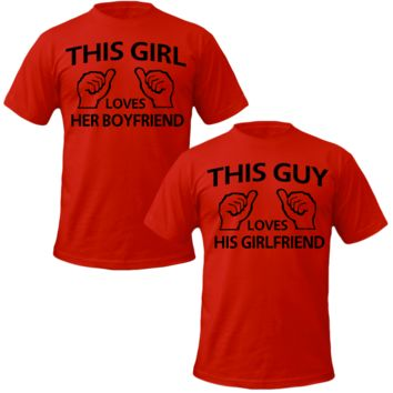 this girl loves her bf Couple Tshirts