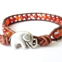 Elephant wrap bracelet with Brazilian sardonyx gemstone beads, boho jewelry for summer, tobacco brown leather