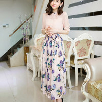Frilled Collar Half Sleeve Floral Chiffon Womens Pleated Tunic Maxi Long Dress